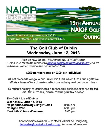 NAIOP Golf Outing 2013 Flyer